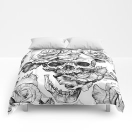 Black and White skull with roses pen drawing Comforters