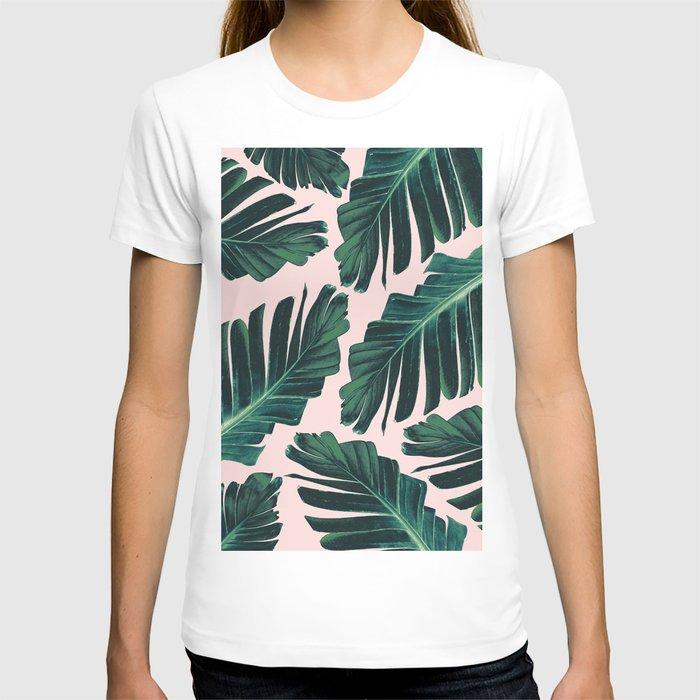 Tropical Blush Banana Leaves Dream #1 #decor #art #society6 T-shirt