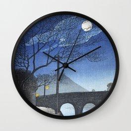 Kotsuki River, Kagoshima At Night - Vintage Japanese Woodblock Print Art By Kawase Hasui Wall Clock