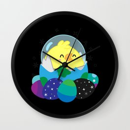 Easter Chicken in Space Wall Clock