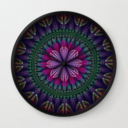 Summer mandala with fantasy flower and petals Wall Clock