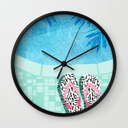 Go Time - resort palm springs poolside oasis swimming athlete vacation topical island summer fun Wall Clock