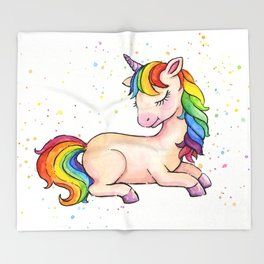 Sleeping Rainbow Unicorn Throw Blanket