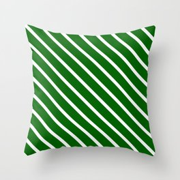 Christmas Green Diagonal Stripes Throw Pillow