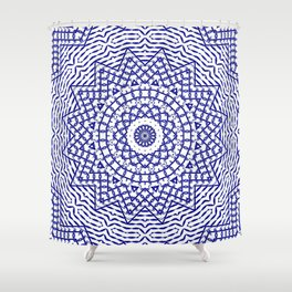 Helios (blue-white) Shower Curtain