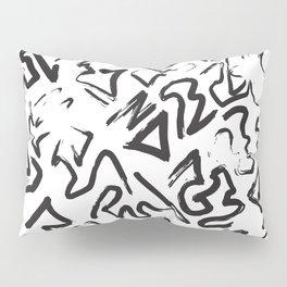 Modern Black White Abstract Graffiti Brushstrokes Pillow Sham