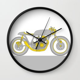 Motorcycle - Gray and Yellow Cafe Racer Wall Clock