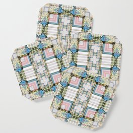 Multi Tiled Pastel Pattern Abstract Coaster