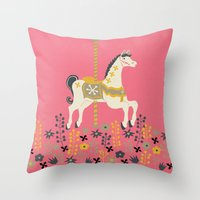 carousel Throw Pillows featuring Carousel by Prelude Posters