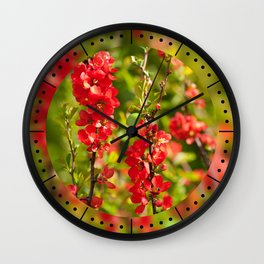 Chaenomeles shrub red flowering Wall Clock