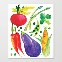 Veg Out - Vegetable, Veggies, Watercolor, Food, Beet, Carrot, Pea Canvas Print