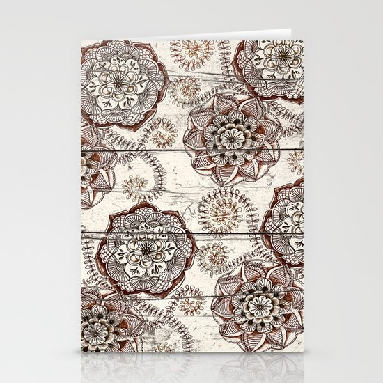 Coffee & Cocoa - brown & cream floral doodles on wood Stationery Cards
