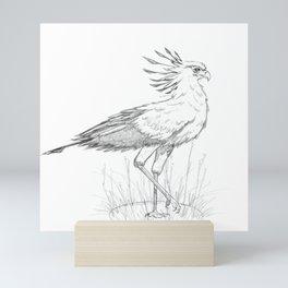 Secretary Bird Pencil Sketch Mini Art Print