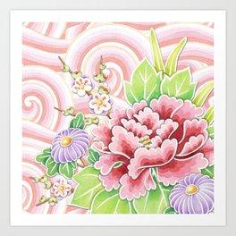 Pink Kimono Bouquet Art Print