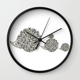 Hedgehogs family Wall Clock