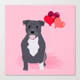 Pitbull love heart balloons valentines day gifts for pibble lovers grey and white Canvas Print