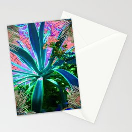 PEACOCK NATURE CORAL-BLUE GARDEN ART Stationery Cards