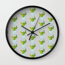 Blooming Cactus | Light Gray Wall Clock