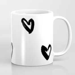 Hand Draw Hearts in Black on White Background Coffee Mug