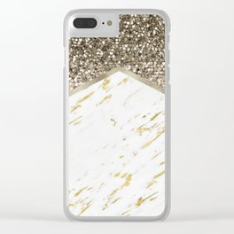 Shimmering mixed golds chevron Clear iPhone Case