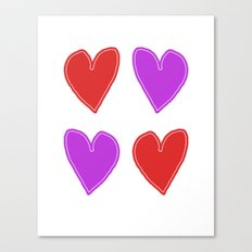Red and Purple Hearts - 4 hearts Canvas Print