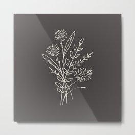 6-204-1n, Beige & Dark brown, Floral Botanical art, Wild flower, Plant   Leaves, Boho decor, Metal Print