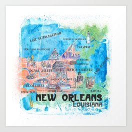New Orleans Louisiana Illustrated Map with Main Roads Landmarks and Highlights Art Print