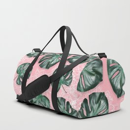 Modern 3d green tropical monstera leaf photo on blush pink white floral illustration Duffle Bag