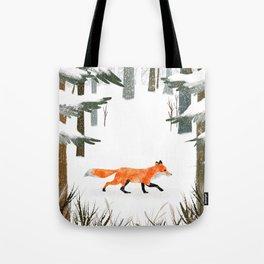 Fox In A Late Winter Snowfall Tote Bag