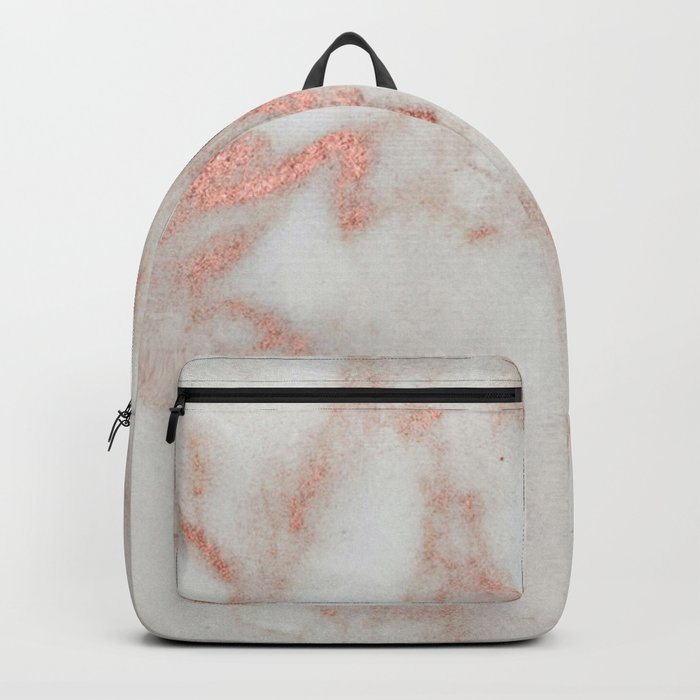 Marble - Metallic Blush Pink and White Marble by Nature Magick Backpack