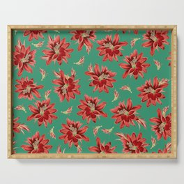 Red Christmas Flowers on Green Botanical Floral Pattern Serving Tray