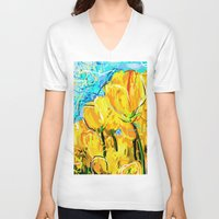 tulips V-neck T-shirts featuring Tulips  by sladja