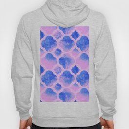 Watercolor Moroccan Quatrefoil Clover Trellis in Cotton Candy Hoody