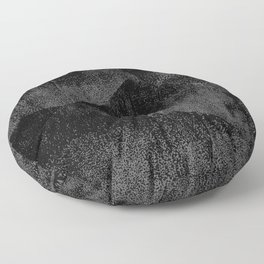 Black and Dark Gray Geometric Ink Texture Floor Pillow