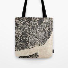 lisbon map ink lines Tote Bag