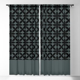 Black Square Petal Pattern on PPG Night Watch Pewter Green Blackout Curtain