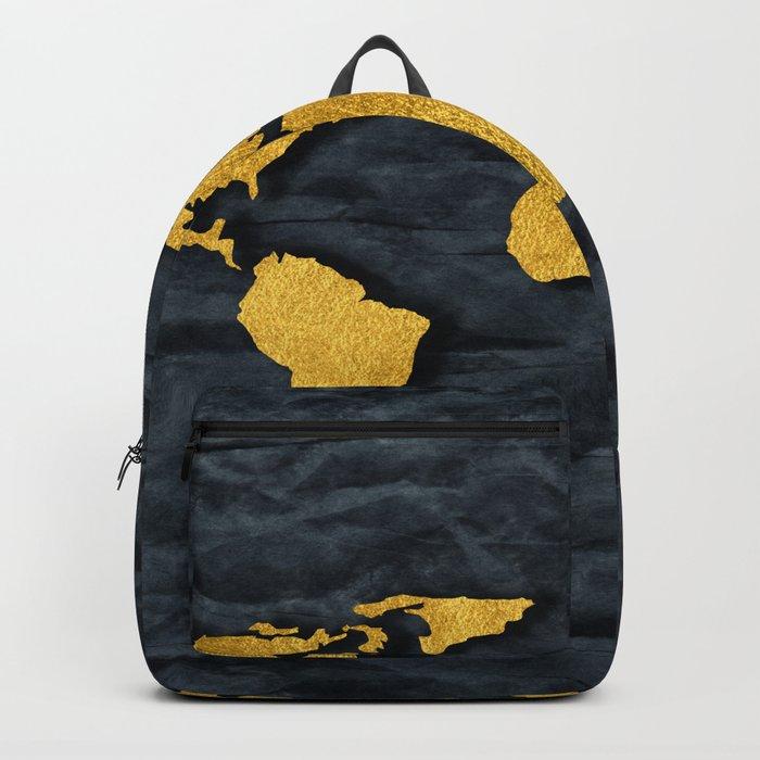 Metallic Gold Leaf Map on paper Backpack