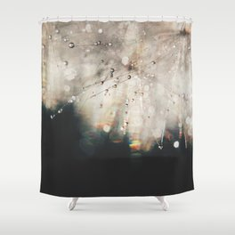 dandelion silver and black Shower Curtain