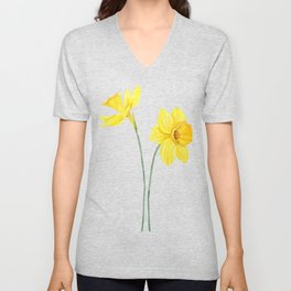 two botanical yellow daffodils watercolor Unisex V-Neck
