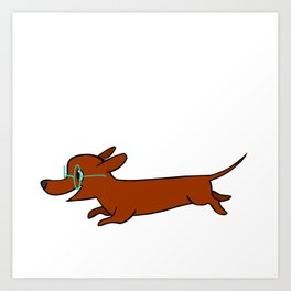dacshund glasses Art Print