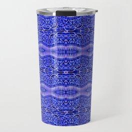 Ancient Thread Pattern Blue Travel Mug