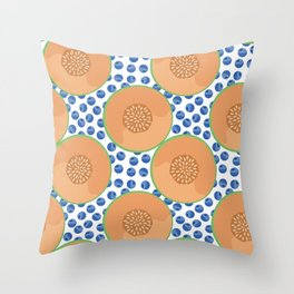 Cantaloupe and Blueberries Throw Pillow