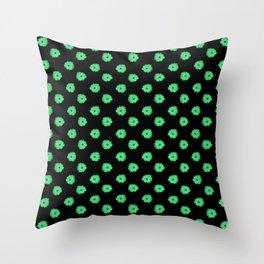 Green flowers on black Throw Pillow