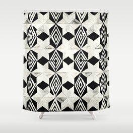 Tribal Shibori Stars Black and Cream Shower Curtain
