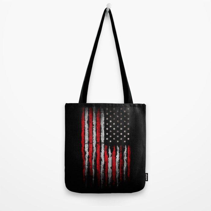 Red & white Grunge American flag Tote Bag