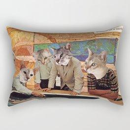 Cats Discuss a Project Rectangular Pillow
