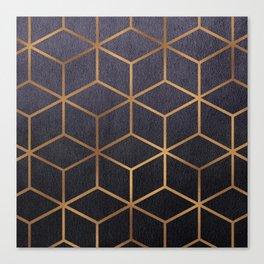 Dark Purple and Gold - Geometric Textured Gradient Cube Design Canvas Print