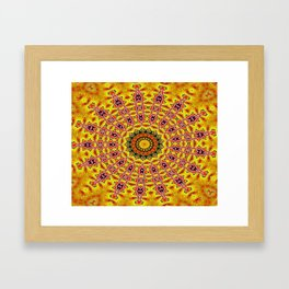 Lovely healing sacred Mandalas in yellow, orange, gold and red with a hint of white Framed Art Print