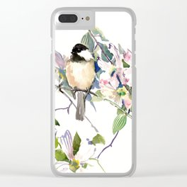 Chickadee and Dogwood Flowers Clear iPhone Case
