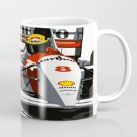 senna Mugs featuring AYRTON SENNA- MONACO GRAND PRIX by MATT WARING